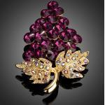 18k arannyal bevont szõlõ bross stellux ausztriai kristályokkal + AJÁNDÉK DÍSZDOBOZ (0083.)