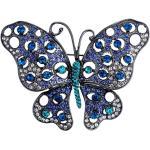 Antikolt exkluzív pillangó bross kék egyedi kristályokkal (0586.)
