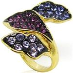 Arannyal bevont gyűrű lila és rózsaszín ausztriai kristályokkal #7 (0661.)