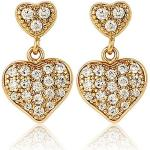 Arannyal bevont, kisméretű függõ szív fülbevaló áttetszõ CZ kristályokkal (0705.)