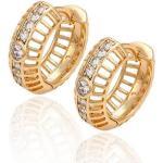 Arannyal bevont különleges karika fülbevaló áttetszõ CZ kristályokkal (0020.)