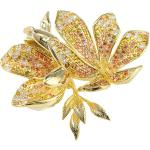 Arannyal bevont magnólia virág bross aranybarna CZ kristályokkal (0042.)