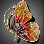 Arannyal bevont pillangó bross ausztriai kristályokkal (1271.)