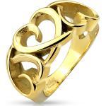 Arany színű, kivágott szív formájú nemesacél gyűrű