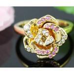 Aranyozott rózsa gyűrű ausztriai kristályokkal #7 (0596.)