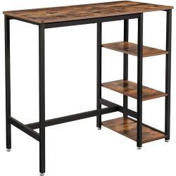 Bárasztal négyszögletes, magas asztal 3 polccal 109 x 60 x 100 cm