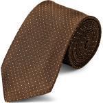 Barna selyem nyakkendõ fehér pöttyös mintával - 8 cm
