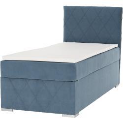 Boxspring ágy, egyszemélyes, kék, 90x200, jobbos, PAXTON