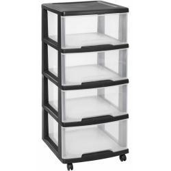 Curver Essentials átlátszó és fekete fiókos szekrény 80 L
