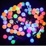 Dekortrend Kültéri Gyöngy fényfüzér, 120 LED, SZÍNES, 9,6 m, zöld kábel, 5 m betápkábel