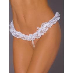 Erotic lace thong with white pearls