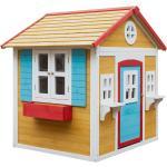 Fából készült kerti ház virágcseréppel, természetes/fehér/kék/piros, AVILO