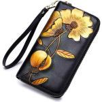 Fekete bõr pénztárca sárga virágmintával (1178.)