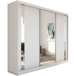 GAJA tolóajtós ruhásszekrény tükörrel, fehér, 240x216x61
