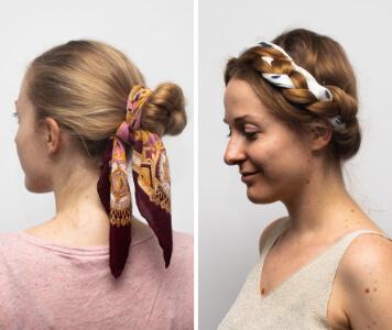 Hosszú hajú nők színes, mintás kendővel a hajukban
