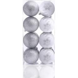 Karácsonyi dekoráció készlet - Meli - 16 db - ezüst-fehér (karácsonyfa dísz)
