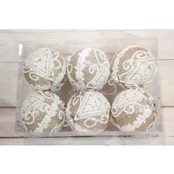Karácsonyi gömbök - arany fehér csipkés (6db / csomag) (á. 7 cm)