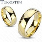 Karika gyűrű volfrámból, arany szín, Gyűrűk ura motívum - Nagyság: 48