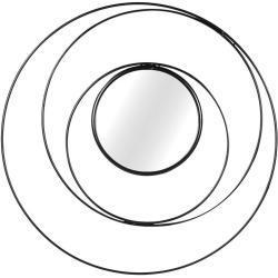 Kör alakú fali tükör, 80 cm, fekete - NEPTUNE - Butopêa
