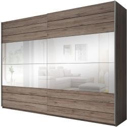 LAXYGA- Tolóajtós ruhásszekrény (57) 200, ajtófékezõ, sötét san remo tölgy/san remo tölgy