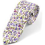 Lila virágmintás fehér pamut nyakkendõ