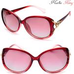 LOPERT piros-bordó keretes nõi napszemüveg, polarizált, arany macskamintával