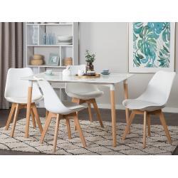 Modern Fehér Étkezõasztal Fa Lábakkal 120 x 80 cm FLY