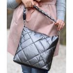 Nagy méretű dzsekis ezüst nõi táska