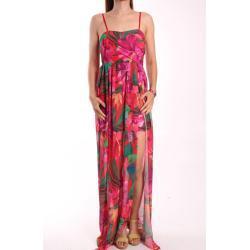 Nõi nyári mintás hosszú ruha - rózsaszínes-piros