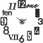 NUMBRA WALL CLOCK BLACK fali és asztali óra, keret nélküli, 12 különféle felragasztható számmal, fekete, alumínium