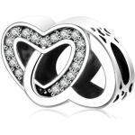 Pandora stílusú ezüst charm - Szív a szívben