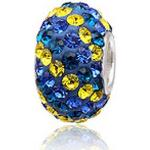 Pandora stílusú Swarovski kristályos medál - sárga és kék - ezüst