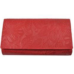 Piros, nyomott leveles-virágos mintás, két oldalas nõi bõr pénztárca 8674-2