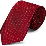 Piros selyem nyakkendõ fehér pöttyös mintával - 8 cm