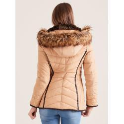 Quilted winter jacket with fur hood, beige