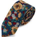 Retró kék nyakkendõ virágmintákkal