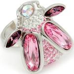 Ródiummal bevont bogár gyűrű rózsaszín Swarovski kristályokkal #7 (0481.)