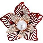 Rózsaarannyal bevont modern virág bross piros festéssel + AJÁNDÉK DÍSZDOBOZ (0585.)