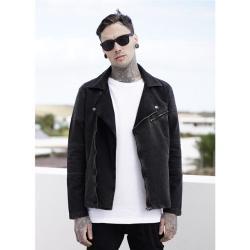 Urban Classics Acid Wash Terry Biker Jacket darkgrey