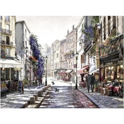 Vászon falikép, párizsi utca, 60x80 cm, világosbarna-lila - RUELLE - Butopêa