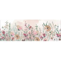 Vászon falikép, rózsaszín virágos rét, 45x140 cm, pasztell rózsaszín - PRAIRIE - Butopêa