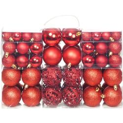 vidaXL 100 darabos piros karácsonyi gömb készlet 6 cm