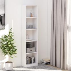vidaXL 5-szintes fehér forgácslap könyvszekrény 40 x 24 x 175 cm