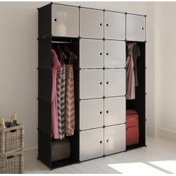 vidaXL moduláris szekrény 14 tárolórekesszel fekete és fehér 37 x 146 x 180,5 cm